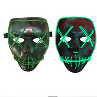 Led Halloween Ghost Masks The Purge Election Year Maschera EL Wire Glowing Mask Neon Flashing Party Scarey Horror Terror Full Face Mask