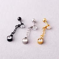 Fashion Crystal Zirconia Stud Earring Screw Ball Piercing Ba...