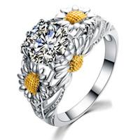 Sunflower Ring Retro Modeschmuck 925 Sterling Silber Gefüllt Runde Form Weiß Topas CZ Zirkonia Kristall Frauen Hochzeit Band Pave Ring