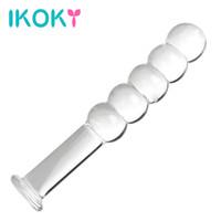 IKOKY Pyrex Kristal Butt Plug Anal Yapay Penis Boncuk Cam Anal Plug Vajina Stimülasyon Kadın Mastürbasyon Seks Oyuncakları Kadınlar için S1018