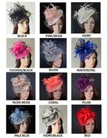 11 Farben.Big-Kleid Hochzeitsfeier Fashion Sinamay Fascinator-Hut mit Federn und Schleier, 6 Farben