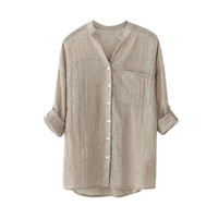 Cotton Solid Long Sleeve Shirt Casual Loose Button Blouse Su...