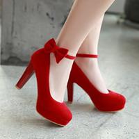 Pumpen New Bow Red Hochzeit Bürsten Schuhe der Frau Big 43 44 45 46 32 33 Kleine High Heel 9.5CM Größe 31-47