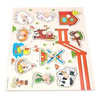 Kid Early Learn Casse-tête Jouets éducatifs Bébé Animaux et véhicules Jouets Enfant Prise De Main En Bois Puzzle en Bois Jouet En Bois