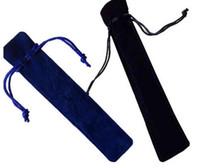Caja de la pluma del bolso del lápiz del tenedor de la bolsa de la pluma del terciopelo con la cuerda para la fuente / bolígrafo
