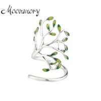 Moonmory 925 Sterling Silver Sprouting Little Tree Anel Aberto Para As Mulheres Ajustável Tamanho Da Árvore Em Forma de Anel Envoltório Com Esmalte Jóias D18111306