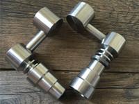 Universal Domeless Titanium Nail 4 IN 1 14mm 18mm Double Fonction GR2 Cire Huile Narguilé Narguilé Tuyaux D'eau Bong Cendre Dab Rigs