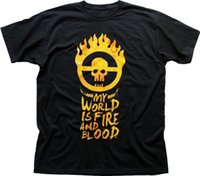 Mad Max Fury Road My World is Fire and Blood black printed t...
