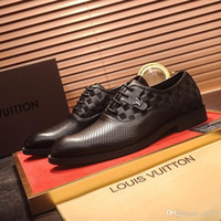 18ss Wedding Dress Shoes Men Black Genuine Leather Grain Des...