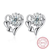 여성을위한 925 실버 귀걸이 다이아몬드 하트 스터드 귀걸이 패션 쥬얼리 뜨거운 새 도착 품목 Ladiys SH-E0045