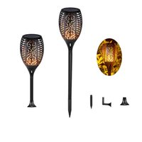 Solar Light Waterproof Flickering Flames Torches Lights Outd...