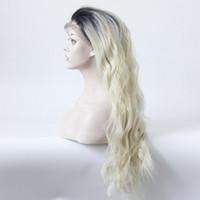 Ombre Siyah T Blonge isı direnç elyaf bebek saç kinky kıvırcık gerçek saç isıya dayanıklı fiber sentetik tutkalsız ön dantel peruk