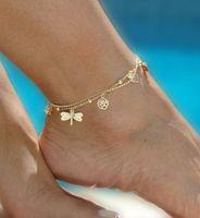الذهب البوهيمي خلخال شاطئ المجوهرات القدم الساق سلسلة فراشة اليعسوب الخلخال للنساء صنادل بيرفوت الكاحل سوار القدمين 2D4