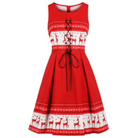 Wipalo Christmas Elk Print Vintage Dress Lace Up Party Dress...