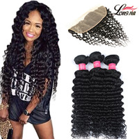 Longjia Peruvian Deep Wave Hair 3 Bundles With Lace Frontal ...
