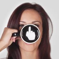 Creative heeft een fijne dag keramiek koffie mokken 301-400ml middelvinger grappige kopje melk thee drinkbeker geschenken WX9-240