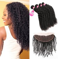 Brazilian Deep Curly bundles with Frontal Ear To Ear 13x4 La...