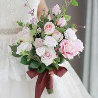 الراقية باقة الزفاف باقة من الورود البيضاء الوردي مع الديكور DIY الشريط البتلة