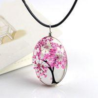 Gioielli retrò Collana con fiori secchi Collana a forma di cuore con pendente in vetro a forma di albero di vita per donna