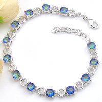 Luckyshine 6 Pcs Colorful Round Topaz Gems Silver Hollow Bra...