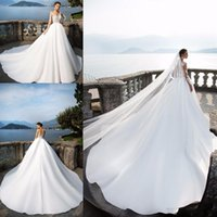 2020 Plus Size A- Line Wedding Dresses Long Sleeve Summer Bea...