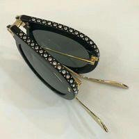 0307s gafas de sol de los vidrios de la lente sola Rhinestone plegable Negro 0307 Moda Gafas de sol Gafas de verano con la caja