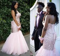 Pink Prom Dresses Long Mermaid Beading Crystal Prom Gowns Sw...