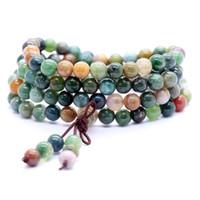 108 Beads Mala Bracelet Necklace 6mm Crystal Buddha Bracciale Prayer Bless Tibetan Buddista Bracciale / Collana per le donne ragazze