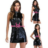 Sexy Wetlook Dress Faux Leather Clubwear Sleeveless Open Fro...