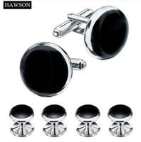 HAWSON Tuxedo Shirt Manschettenknöpfe Knöpfe Formale 3 Farben Optionale Manschettenknöpfe aus schwarzem Emaille