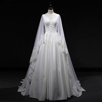 Lace Tulle A Line Wedding Dresses With Long Sleeves 2018 Boh...