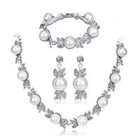 Moda requintado nupcial vestido de noiva conjunto de jóias liga de zinco pérolas flor forma colar brincos pulseira para mulheres presente de aniversário