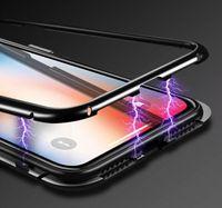 Manyetik Adsorpsiyon Temperli Cam Arka Panel Kılıf iphone X iPhone 8 7 6 6 S Artı Samsung Galaxy S9 S8 Pus S7 Kenar Note8 Cilt Kapak 50 adet
