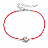 9 Colors Red Rope Bracelet Round 6mm Cubic Zircon Charm Frie...