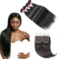 Wholesale 8A Peruvian Straight Hair 4 Bundles with 4*4 Lace ...