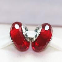 5adet 925 Gümüş Kırmızı Büyüleyici Faceted Murano Cam Boncuk Fit Avrupa Tarzı Pandora Charm Takı Bilezikler Kolyeler-08