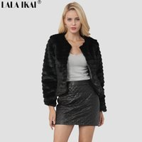 Women Winter Short Hair Faux Fur Coat Long Sleeve Solid Colo...