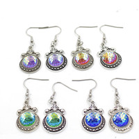 12 Colori Metallo 12mm Orecchini a scaglie di pesce Luminoso Druzy orecchini a forma di sirena in scala Cabochon per gioielli da donna