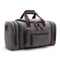 Men' s Vintage Travel Bags Large Capacity Canvas Tote Po...