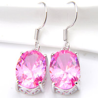LuckyShine Fashion Women Earring Pink Kunzite Gems Oval Cz Z...