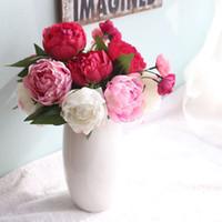 1 Bündel 6pcs Künstliche Pfingstrose Bouquet Künstliche Blumen für Hauptdekoration Günstige Silk Blumen-Fälschungs-Pfingstrose Blumen mit Blättern