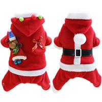 الكلب ملابس عيد الميلاد الكلب سانتا زي مع قبعة ملابس تنكرية تأثيري حلي كلب صغير للحيوانات الاليفة