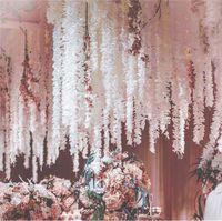 20 PCS 200 CM Artificial Orquídea Wisteria Orquídea Flor Corda Para DIY Simulação de Casamento Arco Quadrado Rattan Cesta De Suspensão Da Parede