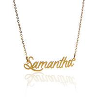 """Collier prénom personnalisé pour femme Lettre """"Tag"""" Samantha """"collier personnalisé en acier inoxydable doré et argent, NL-2399"""
