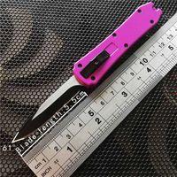하나의 미니 키 자동 나이프 (440) 단일 블레이드 접는 나이프 크리스마스 선물 칼 새틴 버클 나이프 알루미늄 더블 액션을 키 체인