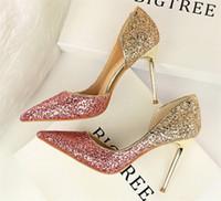 2018 Color de la degradado de los zapatos de novia de la boda de la boda de la boda de las mujeres de la mancha de seda con los zapatos de los talones de la noche de la noche zapatos de fiesta de la fiesta