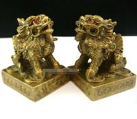 Coppia in ottone statua Pi xiu Pi Yao - Feng Shui Enhancer feng shui