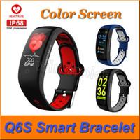Q6S سوار ذكي الألوان 3D ديناميكي ضغط الدم رصد معدل ضربات القلب معصمه IP68 للماء الرياضة اللياقة البدنية ووتش باند