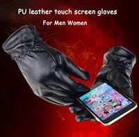 Männer Frauen PU Leder Touch Screen Handschuhe Button Winter warme Handschuhe im Freien fahren Motorrad Fahrrad Ski Handschuhe für Smartphone