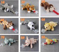 10 Stil Yeni Silikon Hayvan Emzik Peluş Oyuncak Ile Bebek Zürafa Fil Meme Çocuklar Yenidoğan Toddler Çocuk Ürünleri Emzikler